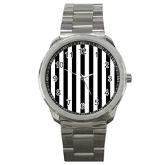 Black And White Stripes Sport Metal Watch