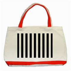 Black And White Stripes Classic Tote Bag (red)