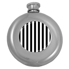 Black And White Stripes Round Hip Flask (5 Oz)
