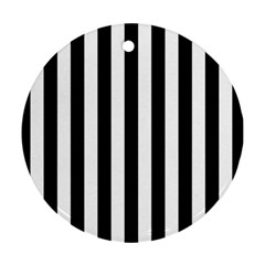 Black And White Stripes Round Ornament (two Sides) by designworld65