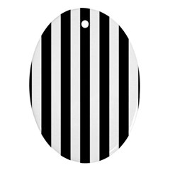 Black And White Stripes Oval Ornament (two Sides)