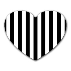 Black And White Stripes Heart Mousepads