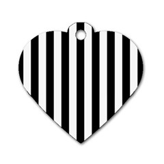 Black And White Stripes Dog Tag Heart (one Side)