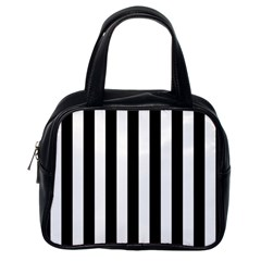 Black And White Stripes Classic Handbags (one Side)