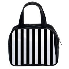 Black And White Stripes Classic Handbags (2 Sides)