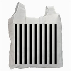 Black And White Stripes Recycle Bag (two Side)