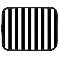 Black And White Stripes Netbook Case (xl)