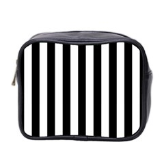 Black And White Stripes Mini Toiletries Bag 2 Side