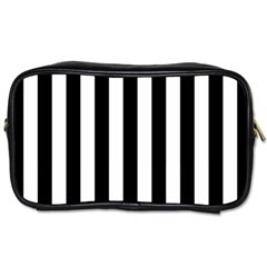 Black And White Stripes Toiletries Bags 2 Side by designworld65