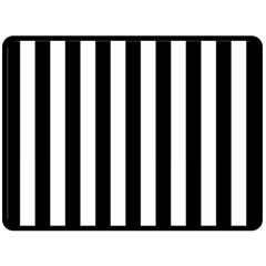 Black And White Stripes Fleece Blanket (large)