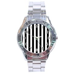 Black And White Stripes Stainless Steel Analogue Watch