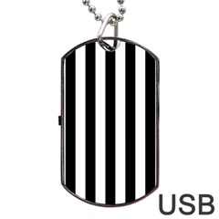 Black And White Stripes Dog Tag Usb Flash (one Side)