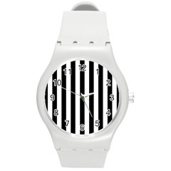 Black And White Stripes Round Plastic Sport Watch (m)