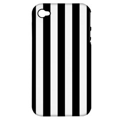 Black And White Stripes Apple Iphone 4/4s Hardshell Case (pc+silicone) by designworld65