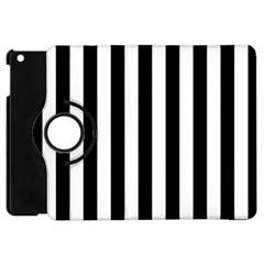 Black And White Stripes Apple Ipad Mini Flip 360 Case by designworld65