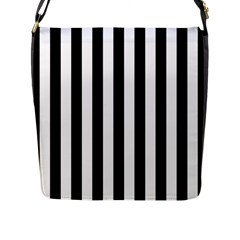 Black And White Stripes Flap Messenger Bag (l)  by designworld65
