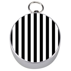 Black And White Stripes Silver Compasses