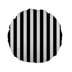 Black And White Stripes Standard 15  Premium Flano Round Cushions