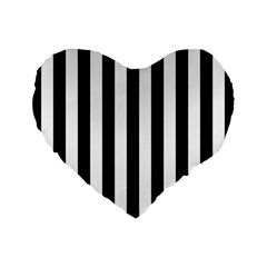 Black And White Stripes Standard 16  Premium Flano Heart Shape Cushions