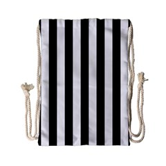 Black And White Stripes Drawstring Bag (small)