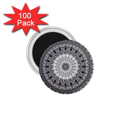 Feeling Softly Black White Mandala 1 75  Magnets (100 Pack)  by designworld65
