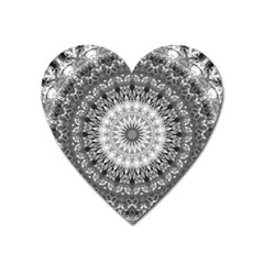 Feeling Softly Black White Mandala Heart Magnet by designworld65