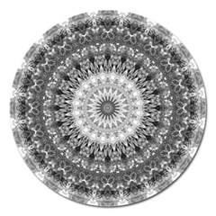 Feeling Softly Black White Mandala Magnet 5  (round) by designworld65