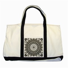 Feeling Softly Black White Mandala Two Tone Tote Bag by designworld65