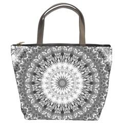 Feeling Softly Black White Mandala Bucket Bags by designworld65