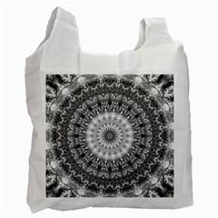 Feeling Softly Black White Mandala Recycle Bag (one Side) by designworld65