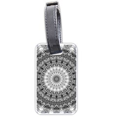Feeling Softly Black White Mandala Luggage Tags (one Side)  by designworld65