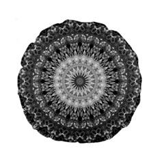 Feeling Softly Black White Mandala Standard 15  Premium Round Cushions by designworld65