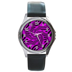 Black Spral Stripes Pink Round Metal Watch