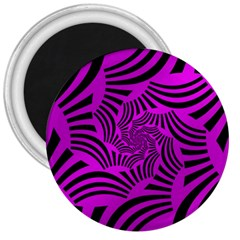Black Spral Stripes Pink 3  Magnets by designworld65