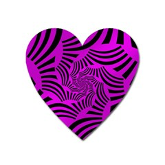 Black Spral Stripes Pink Heart Magnet by designworld65