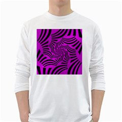 Black Spral Stripes Pink White Long Sleeve T Shirts by designworld65