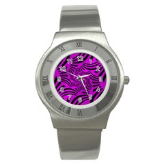 Black Spral Stripes Pink Stainless Steel Watch by designworld65