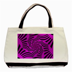 Black Spral Stripes Pink Basic Tote Bag (two Sides) by designworld65