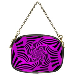 Black Spral Stripes Pink Chain Purses (two Sides)  by designworld65