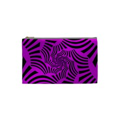 Black Spral Stripes Pink Cosmetic Bag (small)  by designworld65