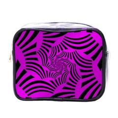 Black Spral Stripes Pink Mini Toiletries Bags by designworld65