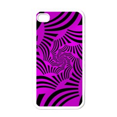 Black Spral Stripes Pink Apple Iphone 4 Case (white) by designworld65