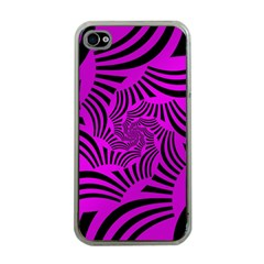 Black Spral Stripes Pink Apple Iphone 4 Case (clear) by designworld65