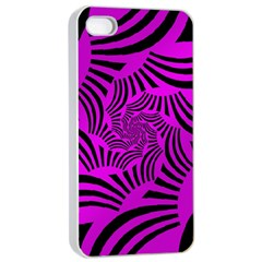 Black Spral Stripes Pink Apple Iphone 4/4s Seamless Case (white) by designworld65