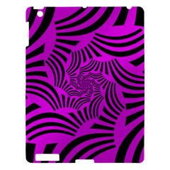 Black Spral Stripes Pink Apple Ipad 3/4 Hardshell Case by designworld65