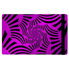Black Spral Stripes Pink Apple Ipad 3/4 Flip Case by designworld65