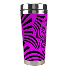 Black Spral Stripes Pink Stainless Steel Travel Tumblers by designworld65