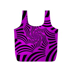 Black Spral Stripes Pink Full Print Recycle Bags (s)  by designworld65