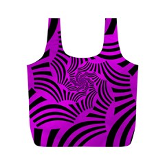Black Spral Stripes Pink Full Print Recycle Bags (m)  by designworld65
