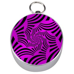 Black Spral Stripes Pink Silver Compasses by designworld65